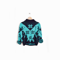 Vintage 80s Ugly Christmas Sweater in Chevron Snowflake - s/m