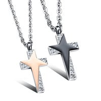 Star sparkling personal cross couple necklace