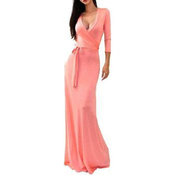 Sexy Women Package Bodycon Vestidos Maxi Dress Fashion V-neck Wrap Empire Waist 3/4 Sleeve Solid Long Casual Dresses