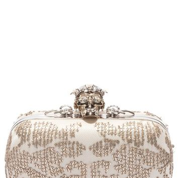 Alexander McQueen 'Classic' Crystal Skull Clasp Box Clutch | Nordstrom