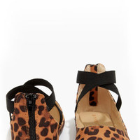 Bamboo Standouts 17A Leopard Ankle Strap Ballet Flats