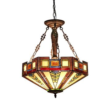 "BAXTERTiffany-style 3 Light Mission Inverted Ceiling Pendant Fixture 20"" Shade"