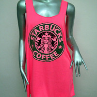 STARBUCKS Coffee T-Shirt Women shirt Tank Tops Mini Dress sleeveless silk screen shirt Rock Punk classic backless charity Pink Q02 Size M