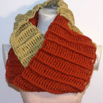 Crochet Cowl Hood Scarf Double Scarf Shawl Honey and Burnt Orange