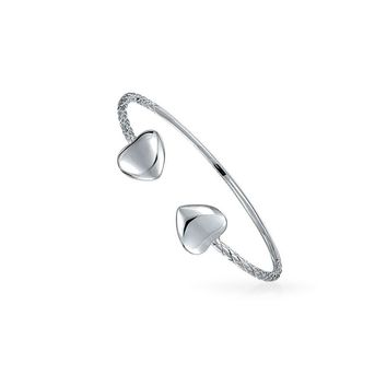 Heart Tips West Indian Style Cable Bangle Bracelet Sterling Silver
