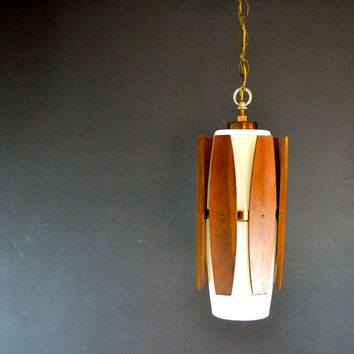 Danish Modern Hanging Light Fixture, Teak and White Glass Hanging Pendant Lamp, Wired In Fixture, Retro Lighting