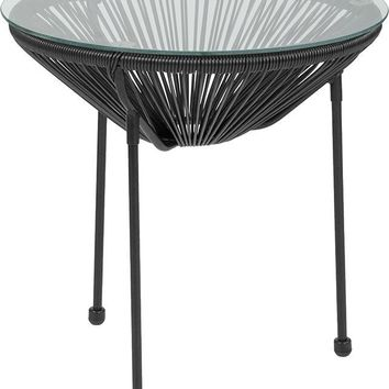 Valencia Oval Comfort Series Take Ten Rattan Table with Glass Top