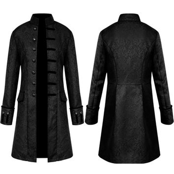 Vintage Men Jacket Velvet Trim Steampunk Jacket Long Sleeve Gothic Brocade Jacket Frock Coat Uniform