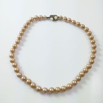 "Vintage 1950s 15"" Pearl Choker - Faux Pearl Necklace Marked Japan Box Clasp"