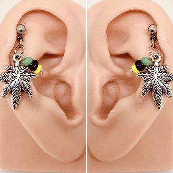 316L Surgical Stainless Solid Steel  Pot leaf 18g, 16g, 14g Helix, cartilage, tragus earring