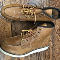2018 Handmade New Arrival Men  Retro Brown Red Boots Wing Shoes Male Tooling Boots Lace Up Work Boots Leather  Steel Toe Boots