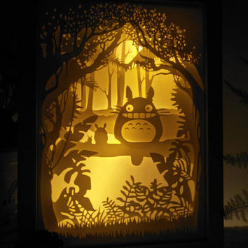 My Neighbor TOTORO  inspired paper cut light box, 3d dream box,shadow box, papercut lightbox, night light, gift idea, room art decor
