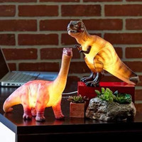 Lamp Dinosaur Novelty Ceramic T-Rex Brachiosaurus Table Desk Night Light 7 Watt