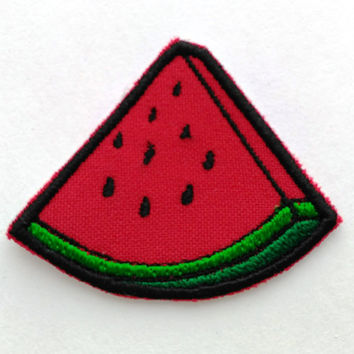 Patch #5. Watermelon patch. Tumblr patches, Patches, Appliques, Embroidered Iron On Patch, Iron on Applique, Sewing Appliques