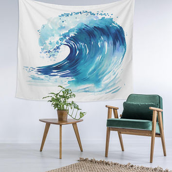 Water Color Blue Ocean Wave Custom Printed Unique Dorm Decor Apartment Decor Trendy Wall Art Printed Wall Hanging Wall Tapestry