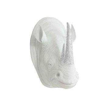 The Serengeti | Large Rhino Head | Faux Taxidermy | White + Silver Glitter Horns Resin