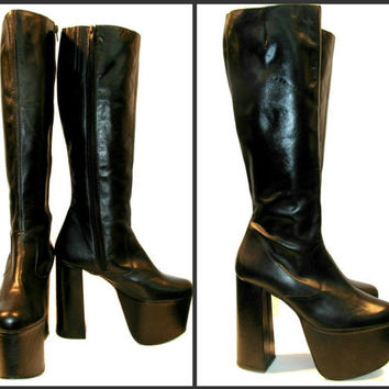 Vintage Black Leather Knee High Luichiny Cyber by Atomicfireball