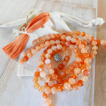 Carnelian Mala Necklace Kit - DIY Make your Own Mala Necklace - 108 beads/Mala beads/108 Mala/Mala Supplies/carnelian beads/orange beads