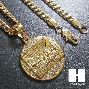 Iced Out 316L Stainless steel Gold  Last Supper w/ 5mm Cuban Chain SG37