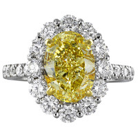 3.01 Carat GIA Cert Fancy Yellow Diamond Platinum Cluster Engagement Ring