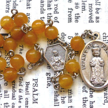 Chaplet of The Infant of Prague - Chaplet of The Child Jesus, Yellow, Golden Quartz