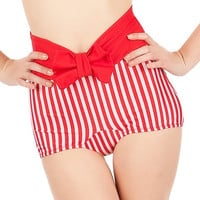 FINAL SALE KANDY Red and White Stripes Bottom With Bow