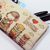 Small I Love Books Zipper Pouch by kukubee on Etsy