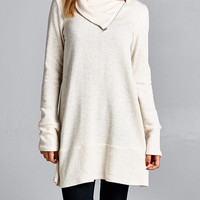 Believing in Me Polar Bear French Terry Tunic Top - Oatmeal