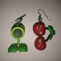 Plants vs Zombies Earrings - Peashooter & Cherry Bomb - re-purposed toys