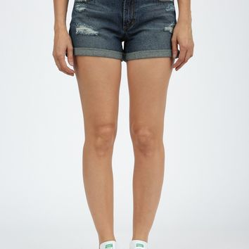 Lucerne Medium Wash Destructed Cuff Shorts