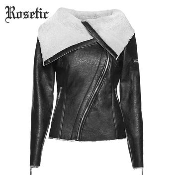 Rosetic Gothic Warm Jacket Plus Size Women PU Jackets Slim Lapel Zipper Plain Asymmetric Female Winter Punk Black Goth Coat