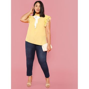 Plus Bow Embellished Layered Ruffle Top Yellow