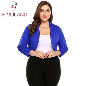IN'VOLAND Women Short Shrug Top Big Size XL-5XL Autumn 3/4 Sleeve Cropped Bolero Party Large Feminino Sweater Cardigan Big Size