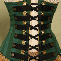 Waist 26 to 28 Emerald Stripe Steampunk Wench Corset