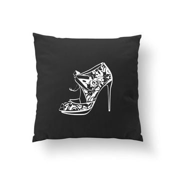 Heels Flowers Pillow, Gift For Her, Fashion Pillow, Decorative Pillow, Fashion Illustration, Cushion Cover, Fashion Chic, Throw Pillow