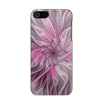 Fractal Pink Flower Dream, Floral Fantasy Pattern Metallic iPhone SE/5/5s Case
