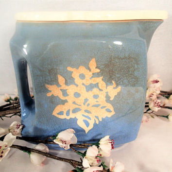 Harker Cameoware Virginian Covered Refrigerator Water Pitcher with cover, Dainty Flower Blue and white stoneware, Shabby Cottage Chic
