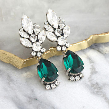 Emerald Earrings, Bridal Emerald, Green Emerald Chandelier Earrings, Green Bridal Earrings, Emerald Crystal Chandelier Swarovski Earrings