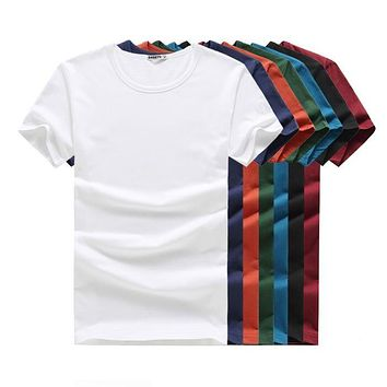 Men T-Shirt Short Sleeve Solid Casual Cotton Shirt Summer Clothes
