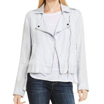 Two By Vince Camuto Drapey Linen Moto Jacket | Dillards
