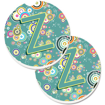 Letter Z Circle Circle Teal Initial Alphabet Set of 2 Cup Holder Car Coasters CJ2015-ZCARC