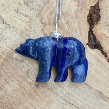 Lapis Lazuli Polar Bear Necklace ~ Stone Bear Necklace  ~ Blue Bear  ~ Polar Bear Necklace ~ Winter Gift ~ Birthday Gift ~ Anniversary