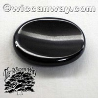 Black Agate Worry Stone - WiccanWay.com Witchcraft Supplies