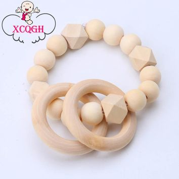 XCQGH Baby Teether Safe Natural Wooden Beads Teether Ring Newborn Baby Gift Cute Teethers Bracelet Toy