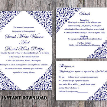 DIY Wedding Invitation Template Set Editable Word File Instant Download Printable Flower Invitation Blue Invitation Navy Blue Invitation