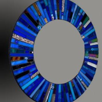Mosaic Round Blue Stained Glass Mirror On by 2ndTimeAroundMosaics