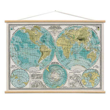 World Hemisphere Map Poster Hanger Kit