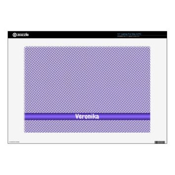 Violet small plaid pattern. Add name. Skin For Laptop