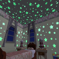 2015 New Wall Stickers For Kids Baby Room 100 pcs/bag DIY Home Decoration Sticker on The Wall 3D Luminous Star Glow in The Dark