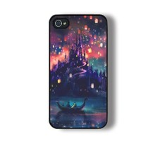 ROKE(TM) Castles Lights Ships Tangled with Black Soft Rubber Iphone 4 4s Case
